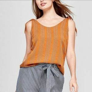 A New Day Burnt Orange and Black strip top